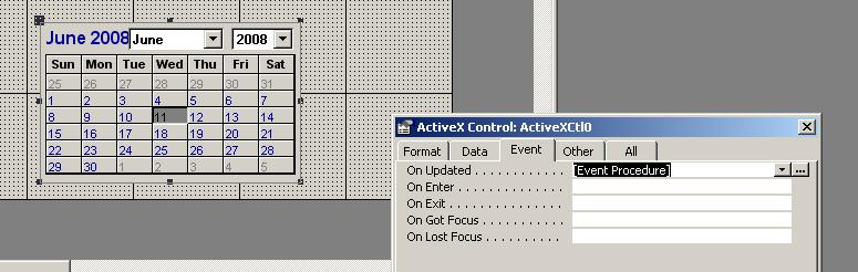 Image of MS Access Calendar Control