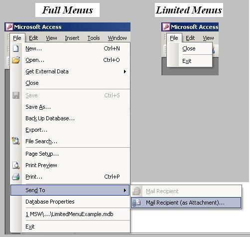 Image of MS Access With and Without Full Menus