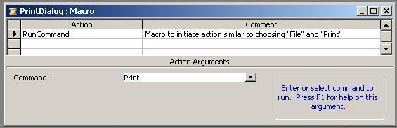 Image of MS Access Macro To Initiate File Print Dialog Without Full Menus
